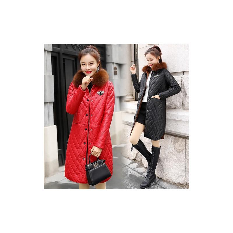 冬装新款显瘦pu皮棉衣女中长款韩版时尚修身大毛领加绒外套潮 一般在付款后3-90天左右发货,具体发货时间请以与客服协商的时间为准