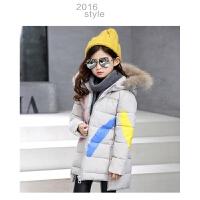童装冬季新款印花油漆女童手塞棉棉衣中大童长款加厚女孩外套