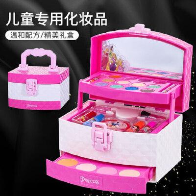 迪士尼儿童彩妆盒套装无毒女孩玩具女童眼影指甲油口红公主化妆品 迪士尼正版/可撕指甲油 易清洗