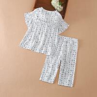 儿童睡衣套装女童夏季宝宝空调家居服中大童套装
