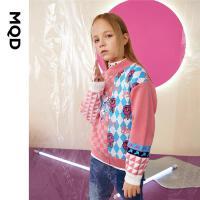 【2件3.5折折后价:196】MQD童装女童格纹拼块撞色图案毛衣21冬新休闲女孩保暖洋气针织衫