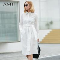 Amii极简欧货潮女装正式场合白色连衣裙2018秋新款长袖收腰衬衫裙.