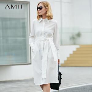 【大牌清仓 5折起】Amii极简欧洲站女装正式场合白色连衣裙2018春新款长袖收腰衬衫裙
