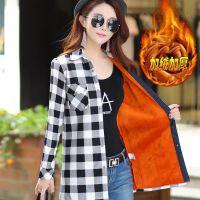 加绒格子衬衫女长袖中长款修身保暖加厚2018冬装韩版大码百搭上衣