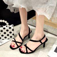 户外露趾高跟凉鞋女仙女风时尚复古ins潮百搭细跟罗马鞋