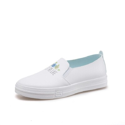 O'SHELL欧希尔新品060-357休闲平底女士乐福鞋小白鞋