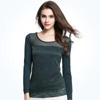 秋冬女士女装上衣女夏蕾丝衫长袖修身网纱新款T恤打底衫