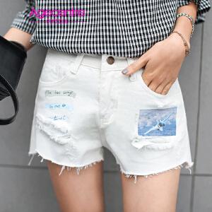 【满200减100】AGECENTRE时代中心 2017春女新款潮夏装韩版新款直筒毛边白色牛仔短裤 印花破洞牛仔裤