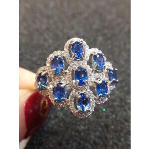 纯天然卡兰天然蓝宝石戒指~火彩爆闪!蓝宝石四大宝石之一