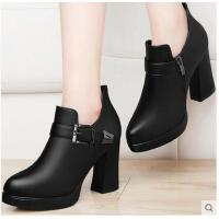 古奇天伦新款韩版春季防水台百搭黑色小皮鞋春鞋高跟鞋粗跟单鞋女鞋子SFE8700