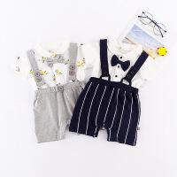 本印苏拉 2018夏款背带裤连体衣 婴儿哈衣假两件爬服 婴幼童欧美婴儿服装
