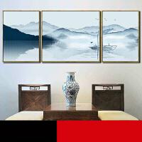现代中式装饰画客厅山水画壁画沙发背景墙挂画三联画墙画 左右58*78中间88*78 黑色细框