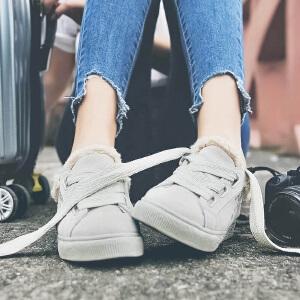 新百伦阿迪 冬季小白鞋女2017新款百搭韩版学生加绒帆布鞋系带平底板鞋子女鞋