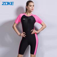 ZOKE泳衣女连体平角保守显瘦遮肚温泉泳装短袖防晒专业运动游泳衣