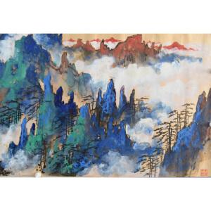 L刘海粟 黄山松云 78*198