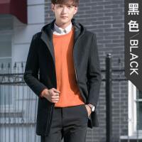 冬季韩版修身毛呢大衣男中长款青年羊毛呢子外套连帽风衣商务休闲