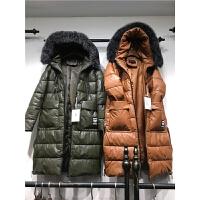 W2女中长款修身pu皮棉衣新款冬 大毛领皮棉袄加厚外套1.2