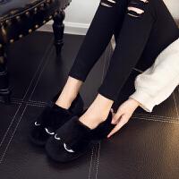 包跟眯眯眼棉拖鞋女冬季居家室内保暖防水防滑厚底情侣卡通拖鞋