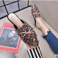 拖鞋女外穿新款时尚亮片包头平底半拖百搭韩版学生懒人拖