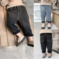 童装男童加绒牛仔裤纯色长裤儿童保暖冬装裤子