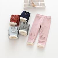 女童猫咪贴布加绒打底裤儿童宝宝保暖长裤子冬季新款童装