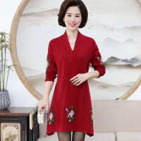 新款秋装冬韩版中老年妈妈装中长款羊毛衫中年女装针织大码连衣裙