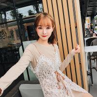 小香风针织连衣裙女韩版2018新款收腰蕾丝吊带两件套装修身中长款 杏色 均码