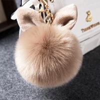 可爱兔耳毛球挂件时尚皮草包包挂件毛绒钥匙扣挂饰毛毛球挂件