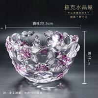 欧式现代玫瑰花客厅装饰摆件水培富贵竹百合花瓶水晶玻璃花器礼品
