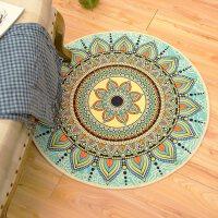 美式摩洛哥圆形地毯民族风书房电脑椅地垫家用脚垫客厅圆毯进门垫
