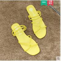 糖果色拖鞋女平底时尚可湿水小清新简约风沙滩鞋海边交叉绑带罗马凉拖