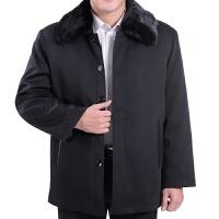 中老年男装外套冬装加厚尼克服老年人男士中长款棉衣爸爸装 黑色
