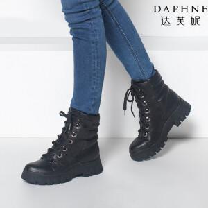 达芙妮冬季新款休闲时尚潮款圆头系带厚底女鞋