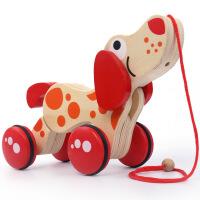 20180726132727301木质婴儿童拖拉玩具拉线狗拉绳鳄鱼 学步拖车0-1-2岁宝宝玩具