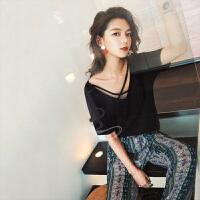七格格T恤女短袖韩范夏装季新款打底衫V领性感学生宽松韩系chic上衣