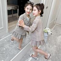 女童套装2020新款春装女孩格子外套儿童春秋小西装短裙两件套