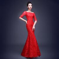 新款红色蕾丝长款敬酒服一字肩修身鱼尾晚礼服礼仪旗袍晚礼服 XX