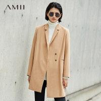 Amii极简韩版时尚羊毛毛呢外套女2018冬新翻领拼腰带呢子中长大衣