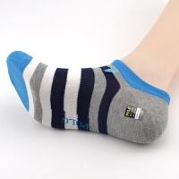 春夏薄款男士棉袜子低帮船袜条纹撞色短袜吸湿透气休闲袜 39-42
