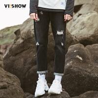 VIISHOW2017秋装新款牛仔裤男破洞韩版男小脚裤子休闲长裤潮牌