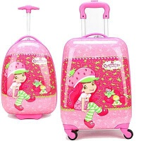 七夕礼物可爱儿童旅行箱万向轮草莓女孩拉杆箱16寸18寸女童学生行李箱拖箱 草莓女孩1号 19寸(送小锁贴纸)