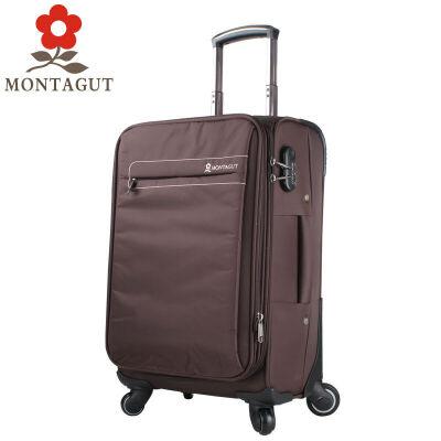 梦特娇MONTAGUT拉杆箱万向轮男女行李箱登机箱旅行箱托运箱 防水牛津布 啡色与商场专柜同步,支持专柜验货