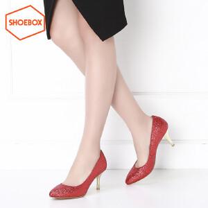达芙妮旗下鞋柜shoebox春季新款尖头套脚高跟鞋 浅口休闲女鞋1116101244