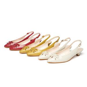 Daphne/达芙妮春女鞋 低跟尖头蝴蝶结后空通勤单鞋 1015102002