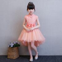 拖尾裙女童礼服公主裙小女孩模特走秀儿童中国风蓬蓬裙演出服 虾粉色(18295)
