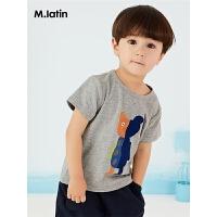 【秒杀价:70元】马拉丁童装小童短袖T恤夏装新款不对称撞色图案圆领舒适T恤