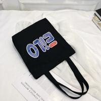 简约帆布包女单肩包chic布包大包韩版日系学生文艺手提袋