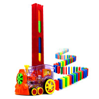 多米诺骨牌儿童益智火车电动轨道自动发牌快摆积木宝宝玩具 100片 豪华礼盒(电池版送电池)