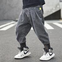 男童牛仔裤子秋冬装新款中大儿童洋气一体加厚加绒长裤童装