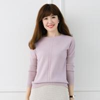 2017羊绒衫女时尚短款秋冬新款纯色v领套头打底衫简约百搭小清新